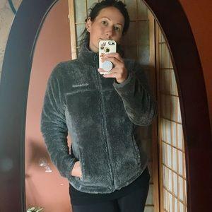 Columbia Grey Fuzzy Furry Full Zip Jacket Sz Small